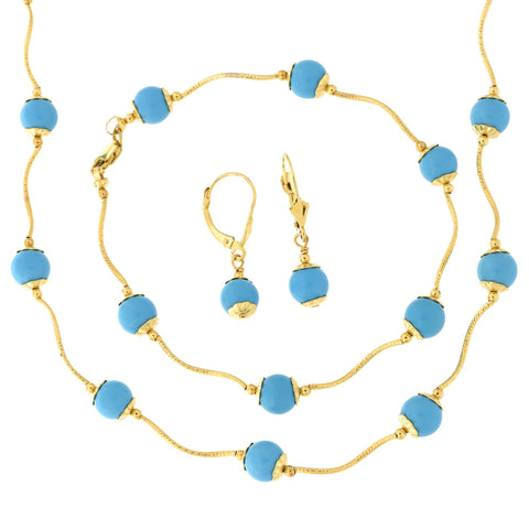 14k Yellow Gold Diamond Cut 7mm Capped Simulated Turquoise Station Necklace, Earrings and Bracelet Set