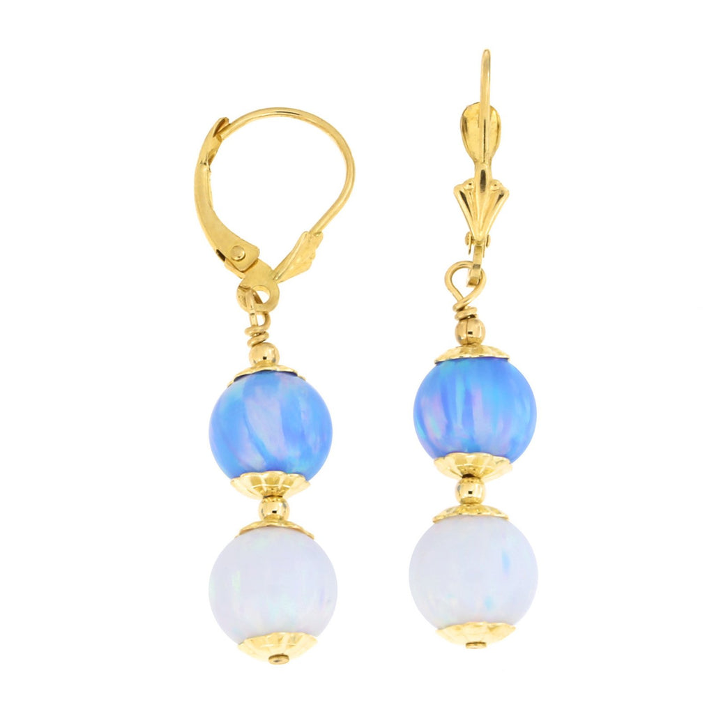 14k Yellow Gold Diamond Cut Capped Simulated Blue and White Opal Dangle Earrings