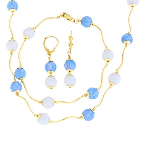 14k Yellow Gold Diamond Cut Capped Simulated Blue and White Opal Station Necklace, Earrings and Bracelet Set