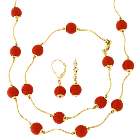 14k Yellow Gold Diamond Cut 8mm Capped Simulated Coral Station Necklace, Earrings and Bracelet Set