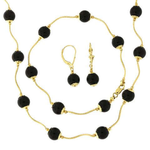 14k Yellow Gold Diamond Cut 8mm Capped Simulated Onyx Station Necklace, Earrings and Bracelet Set