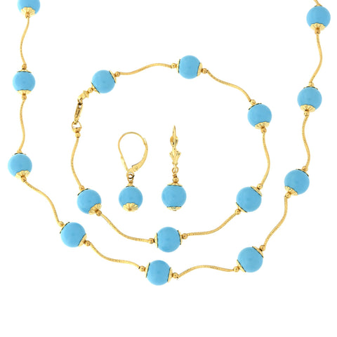 14k Yellow Gold Diamond Cut 8mm Capped Simulated Turquoise Station Necklace, Earrings and Bracelet Set