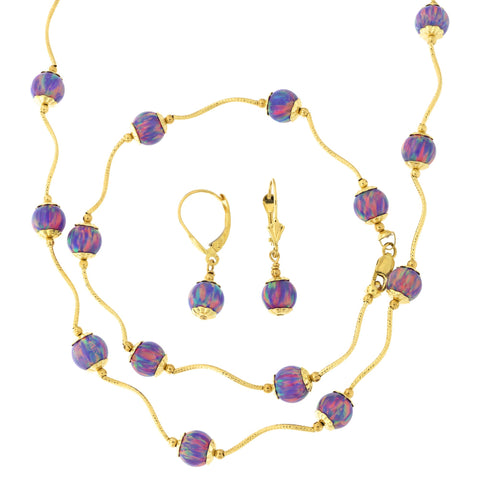14k Yellow Gold Diamond Cut Capped Simulated Purple Opal Station Necklace, Earrings and Bracelet Set