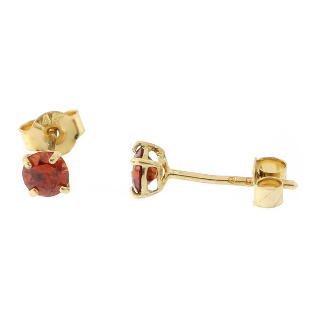 14k Yellow or White Gold Round Basket Set Simulated Garnet Earrings
