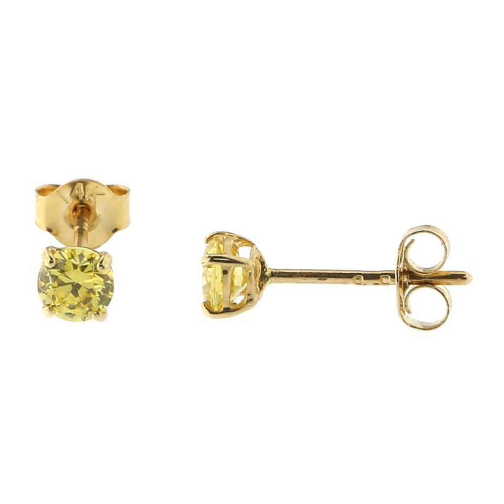 14k Yellow or White Gold Round Basket Set Simulated Citrine Earrings