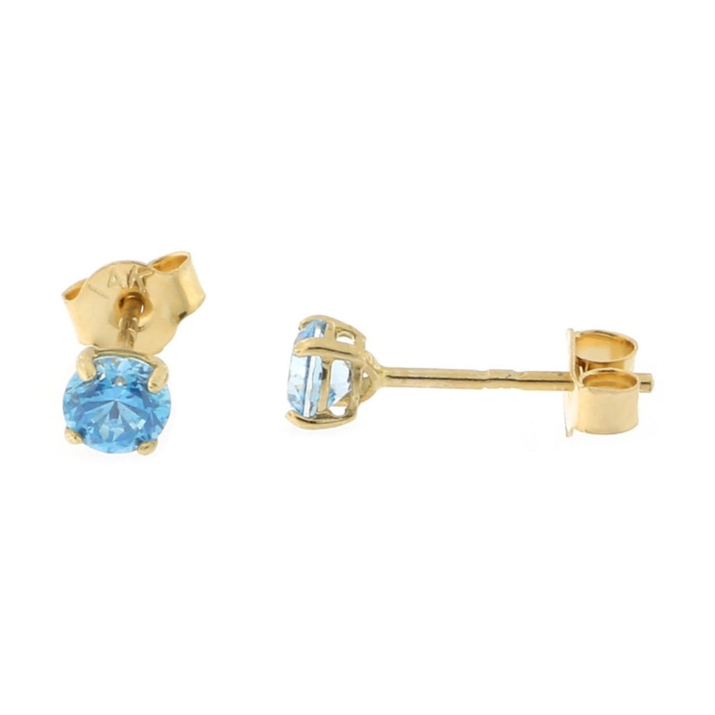 14k Yellow or White Gold Round Basket Set Simulated Blue Topaz Earrings