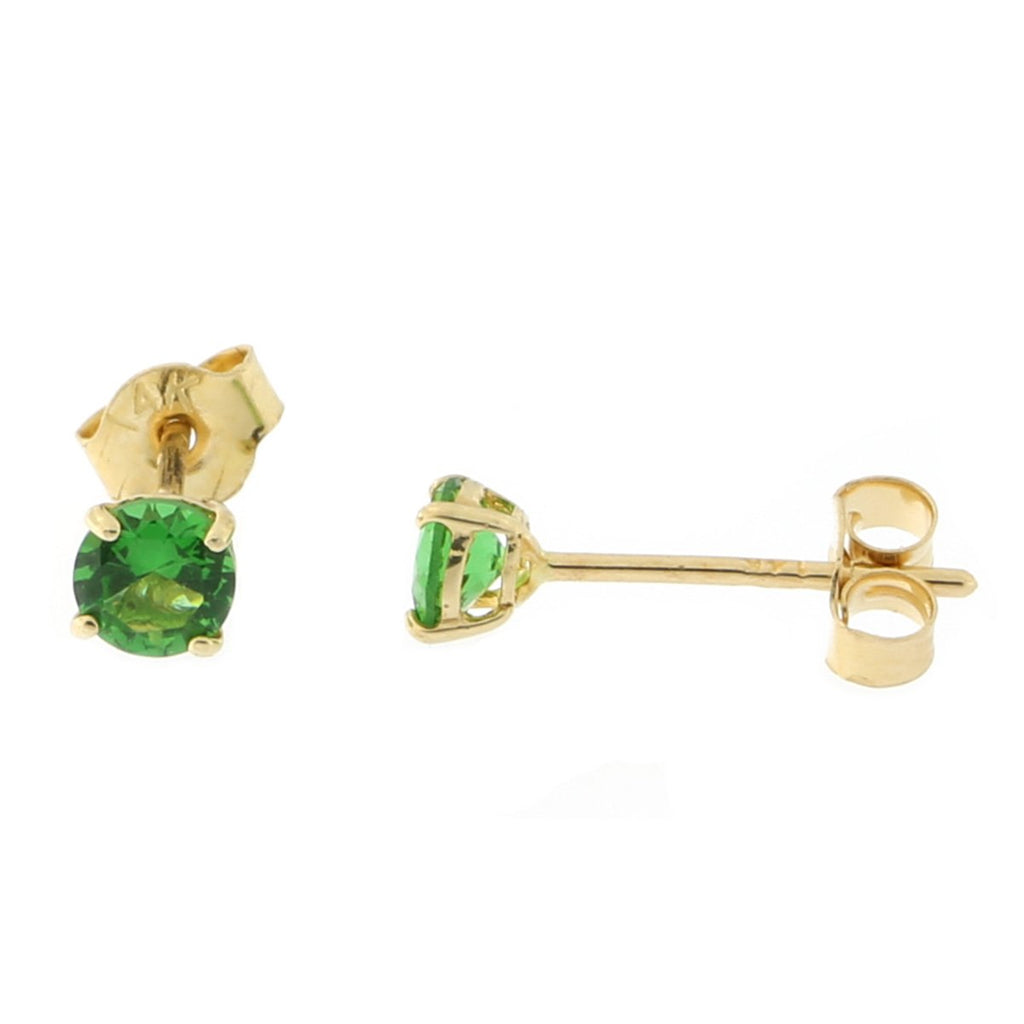 14k Yellow or White Gold Round Basket Set Simulated Emerald Earrings