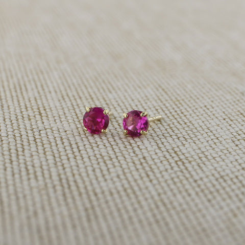 14k Yellow Gold 3mm .25tcw Round Basket Set Simulated Ruby Earrings