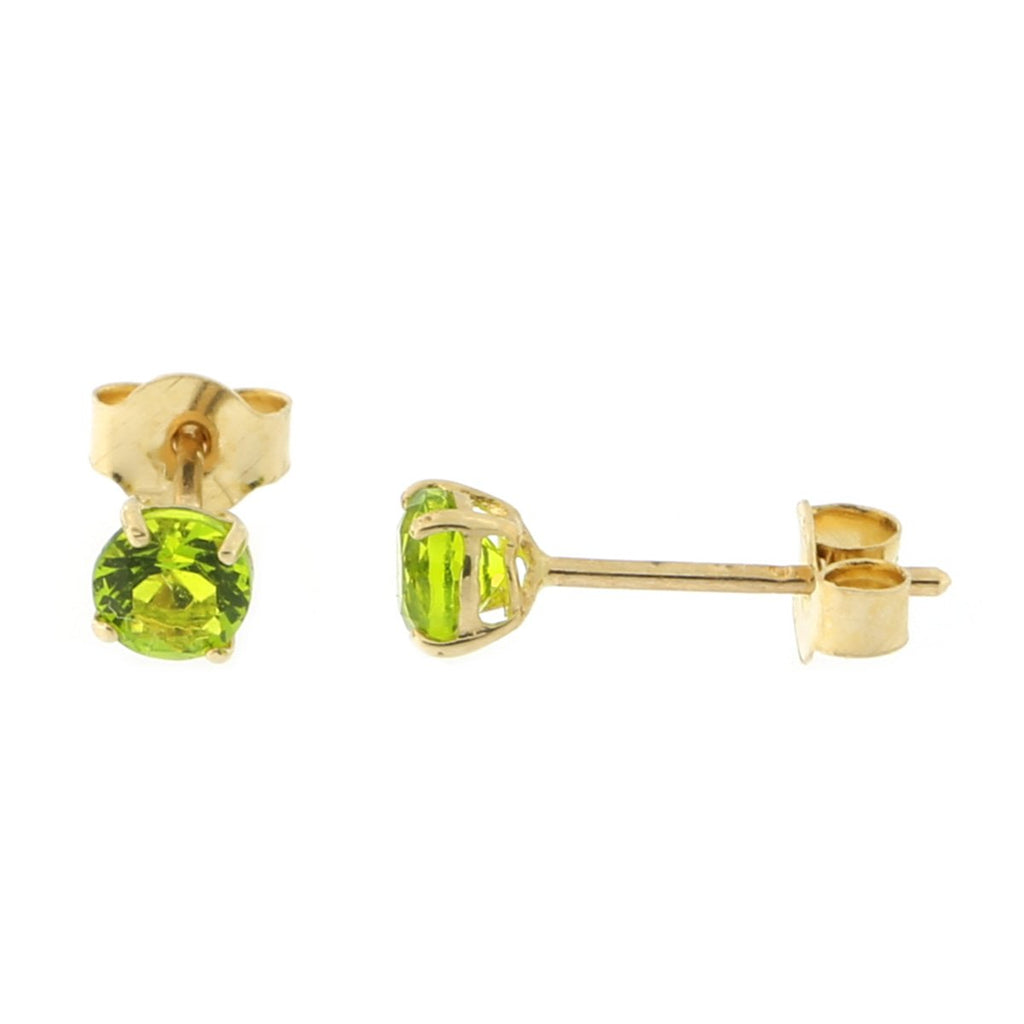 14k Yellow or White Gold Round Basket Set Simulated Peridot Earrings