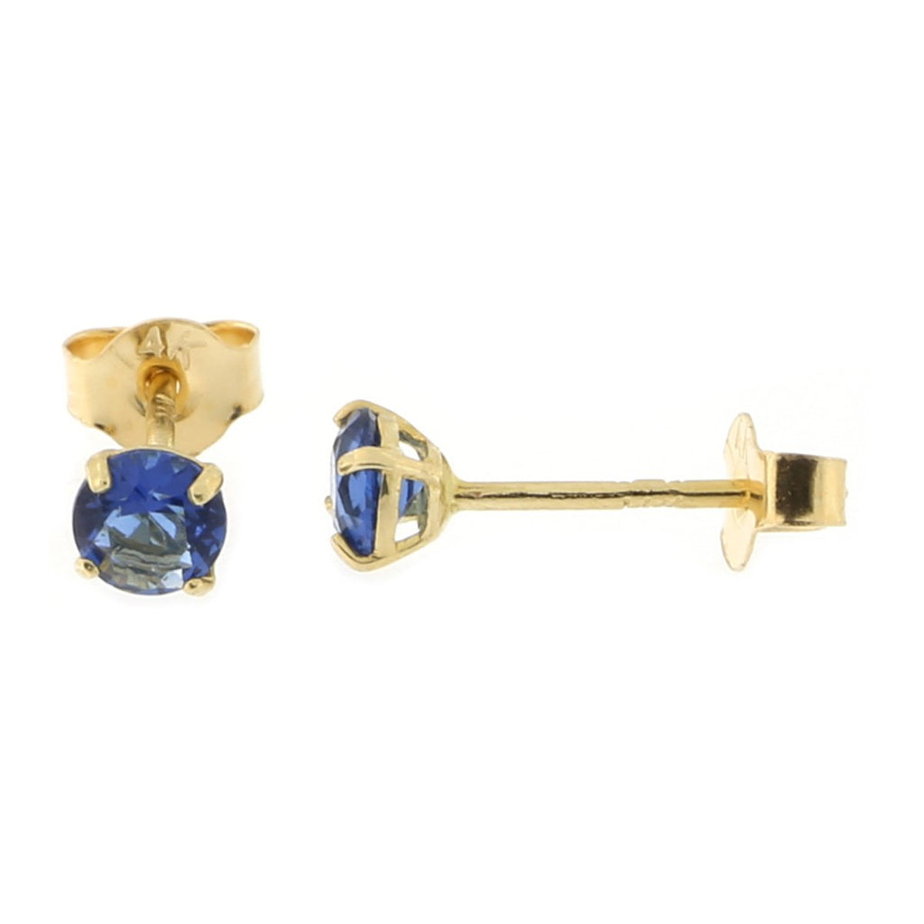14k Yellow or White Gold Round Basket Set Simulated Blue Sapphire Earrings