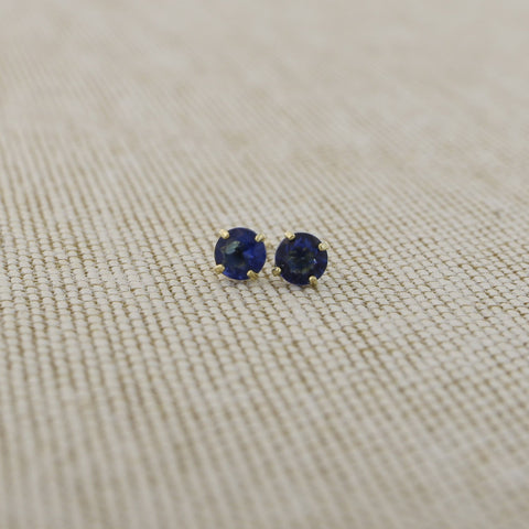 14k Yellow Gold 3mm .25tcw Round Basket Set Simulated Blue Sapphire Earrings
