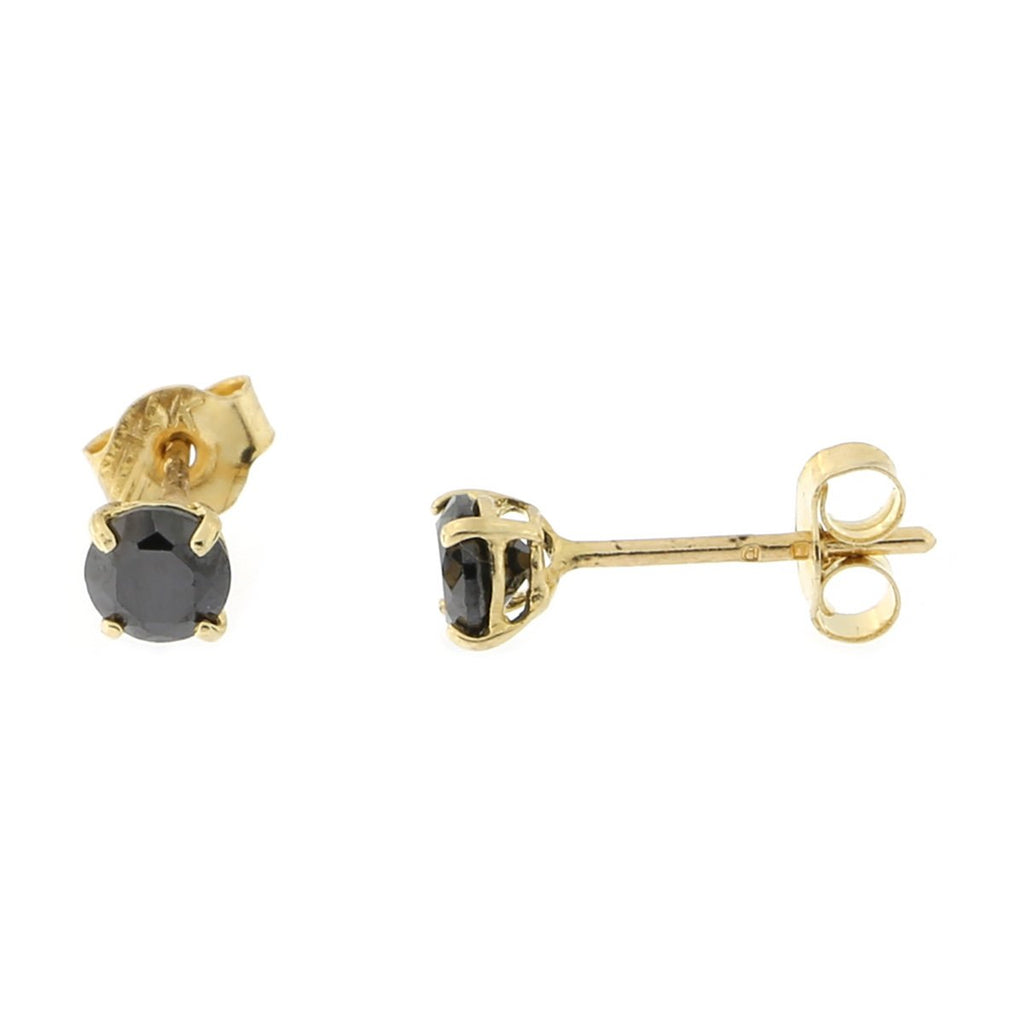 14k Yellow or White Gold Round Basket Set Black Cubic Zirconia Earrings