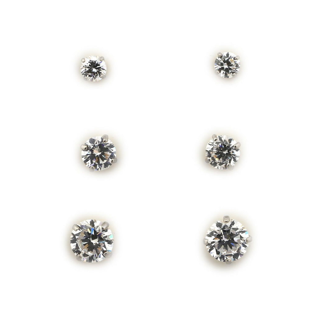14k Yellow or White Gold 3mm, 4mm and 5mm Basket Set Cubic Zirconia Stud Earrings Set