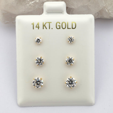 14k White Gold 3mm, 4mm and 5mm Basket Set Cubic Zirconia Stud Earrings Set