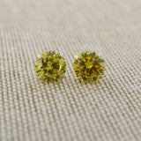 14k Yellow Gold 3mm .25tcw Round Basket Set Simulated Citrine Earrings