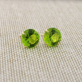14k Yellow Gold 3mm .25tcw Round Basket Set Simulated Peridot Earrings