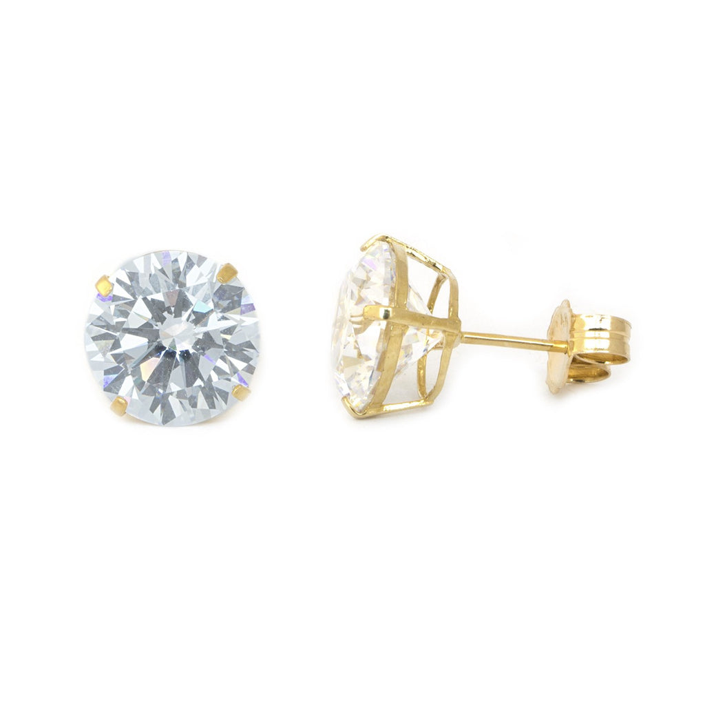 14k Yellow Gold AAA Cubic Zirconia Stud Earrings