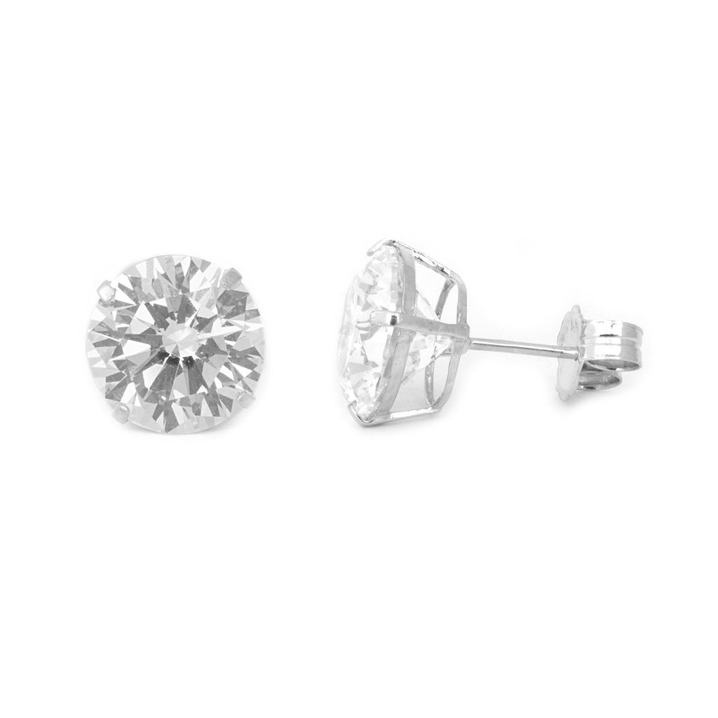 14k White Gold AAA Cubic Zirconia Stud Earrings