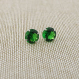 14k Yellow Gold 3mm .25tcw Round Basket Set Simulated Emerald Earrings