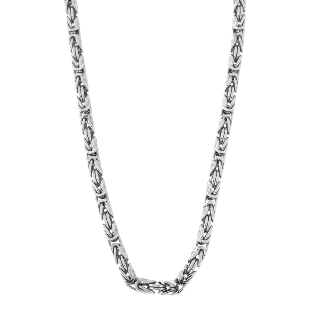 Men's Solid Sterling Silver Rhodium Plated 2.7mm Square Byzantine Heavy Chain Necklace, 20""