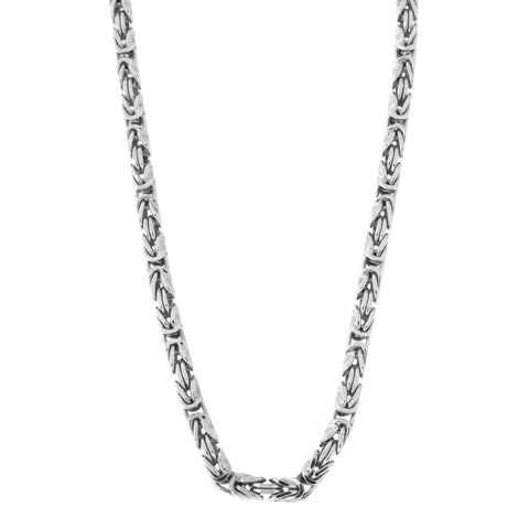 Men's Solid Sterling Silver Rhodium Plated 2.7mm Square Byzantine Heavy Chain Necklace, 30""