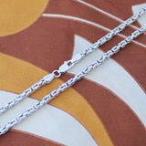 Men's Solid Sterling Silver Rhodium Plated 3.7mm Square Byzantine Heavy Chain Necklace, 22""