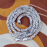 Men's Solid Sterling Silver Rhodium Plated 6mm Square Byzantine Heavy Chain Necklace, 22""