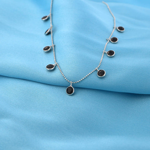 14k White Gold Dangling Bezel Set Black Cubic Zirconia Ball Chain Cleopatra Necklace, 13""
