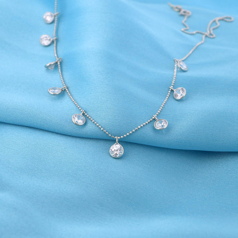 14k White Gold Dangling Bezel Set Cubic Zirconia Ball Chain Cleopatra Necklace, 13""