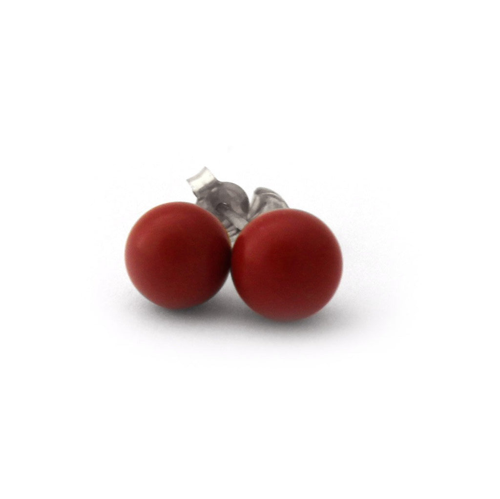 14k Yellow Gold, White Gold or Sterling Silver Dark Red Simulated Coral Ball Stud Earrings