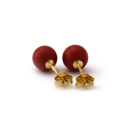 Solid Sterling Silver Rhodium Plated Dark Red Simulated Coral Ball Stud Earrings - 10mm
