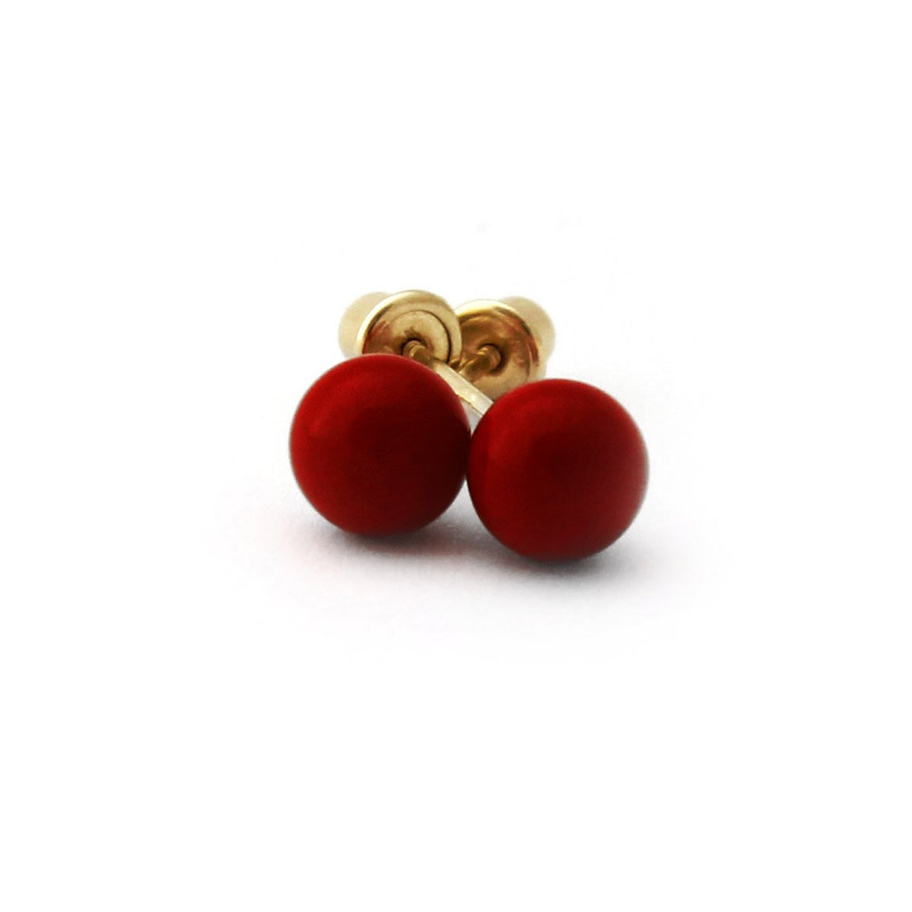 Sterling Silver Rhodium Plated Dark Red Simulated Coral Ball Stud Earrings Child Safe Screwbacks - 3mm