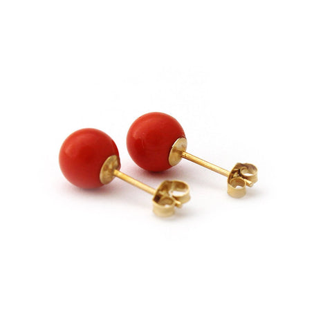 Solid Sterling Silver Rhodium Plated Light Red Simulated Coral Ball Stud Earrings - 10mm