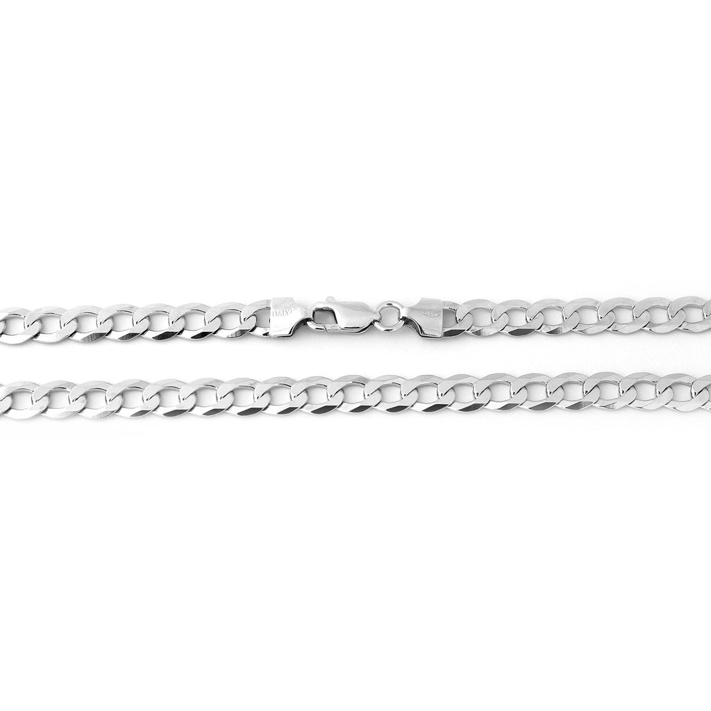 Men's Solid Sterling Silver Rhodium Plated 5mm Cuban Chain Necklace, 20""
