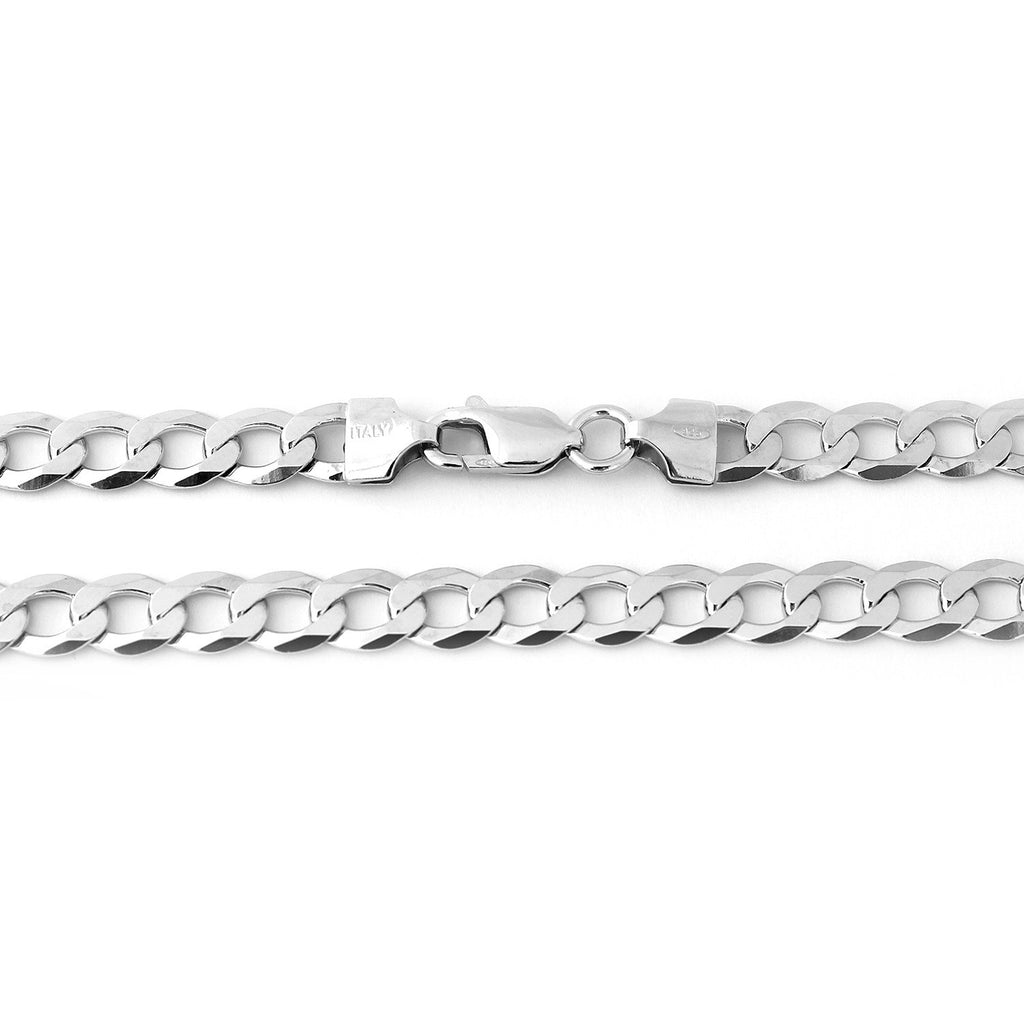 Men's Solid Sterling Silver Rhodium Plated 7mm Cuban Chain Necklace, 20""