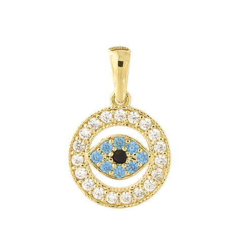 14k Yellow Gold Cubic Zirconia Simulated Blue Topaz Evil Eye Pendant Cable Chain Necklace