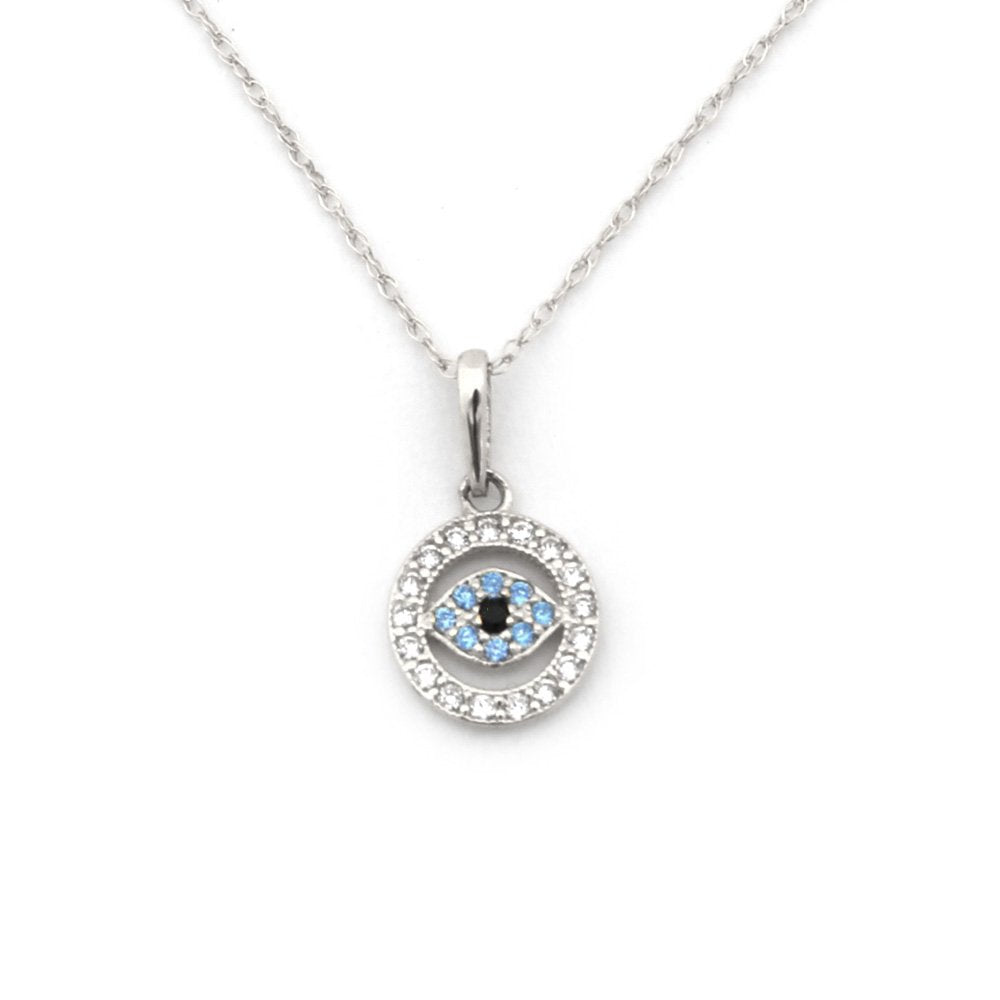 Beauniq 14k White or Yellow Gold Cubic Zirconia and Simulated Blue Topaz Tiny Evil Eye Pendant Necklace
