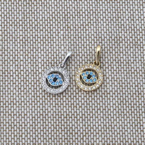Beauniq 14k White Gold Cubic Zirconia and Simulated Blue Topaz Tiny Evil Eye Pendant Necklace - Pendant only