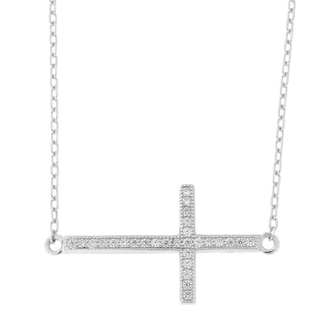 "Beauniq Solid Sterling Silver Rhodium Plated Cubic Zirconia Large Sideways Cross Pendant Necklace, 15""-17"""