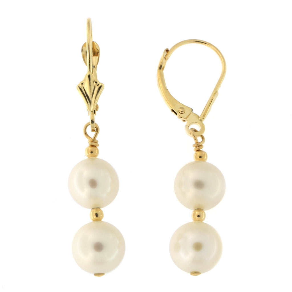 14k Yellow Gold Double Freshwater Cultured Pearl Leverback Dangle Earrings