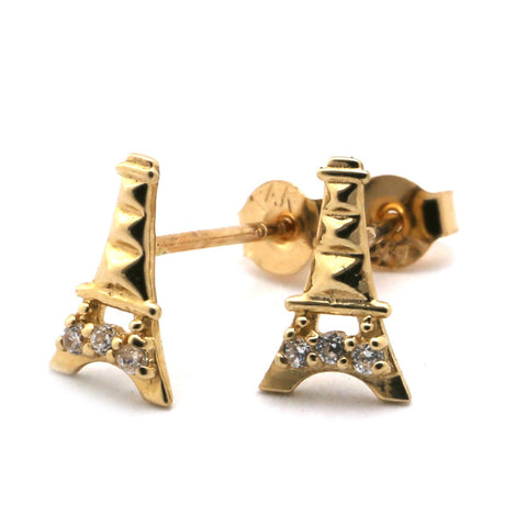 14k Yellow Gold Cubic Zirconia Small Eiffel Tower Stud Earrings
