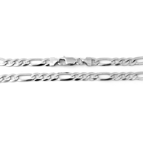 Men's Solid Sterling Silver Rhodium Plated 5mm Figaro Chain Necklace, 20""