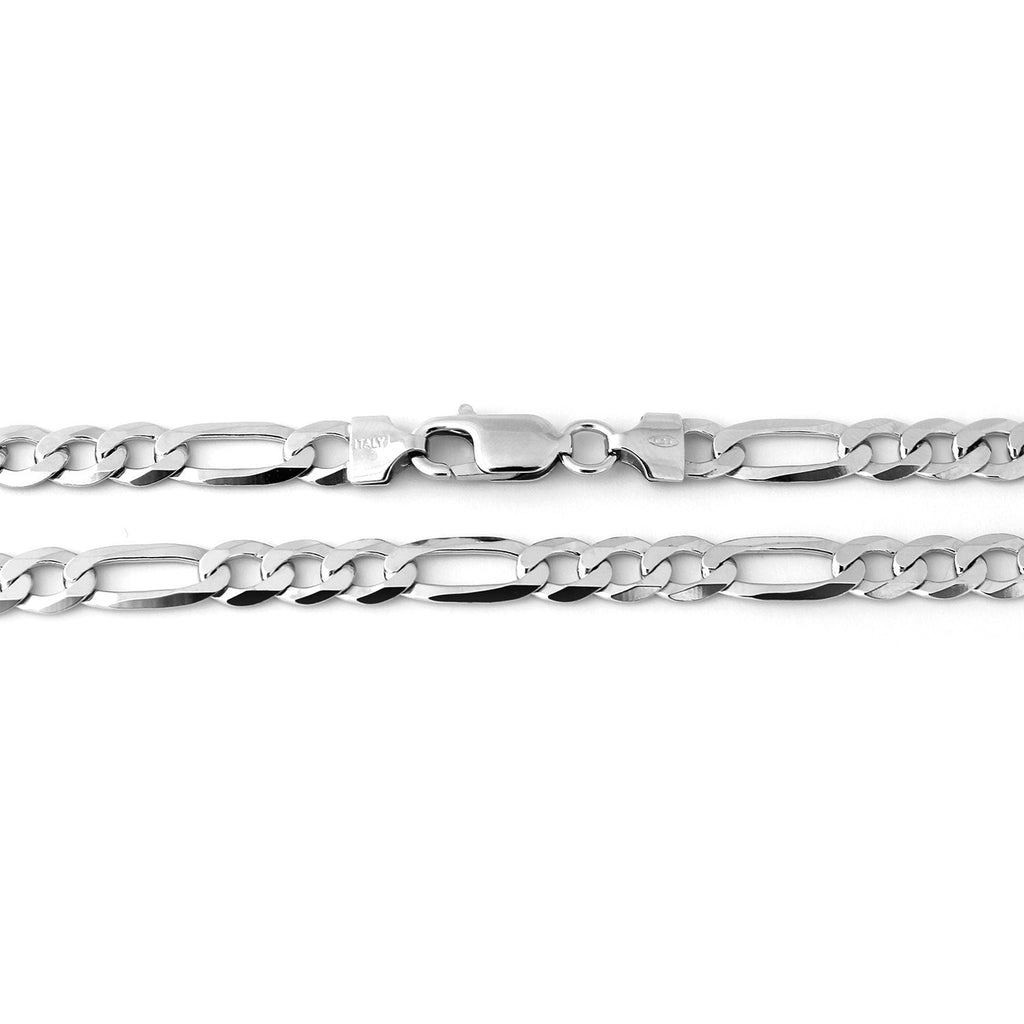 Men's Solid Sterling Silver Rhodium Plated 6mm Figaro Chain Necklace, 20""