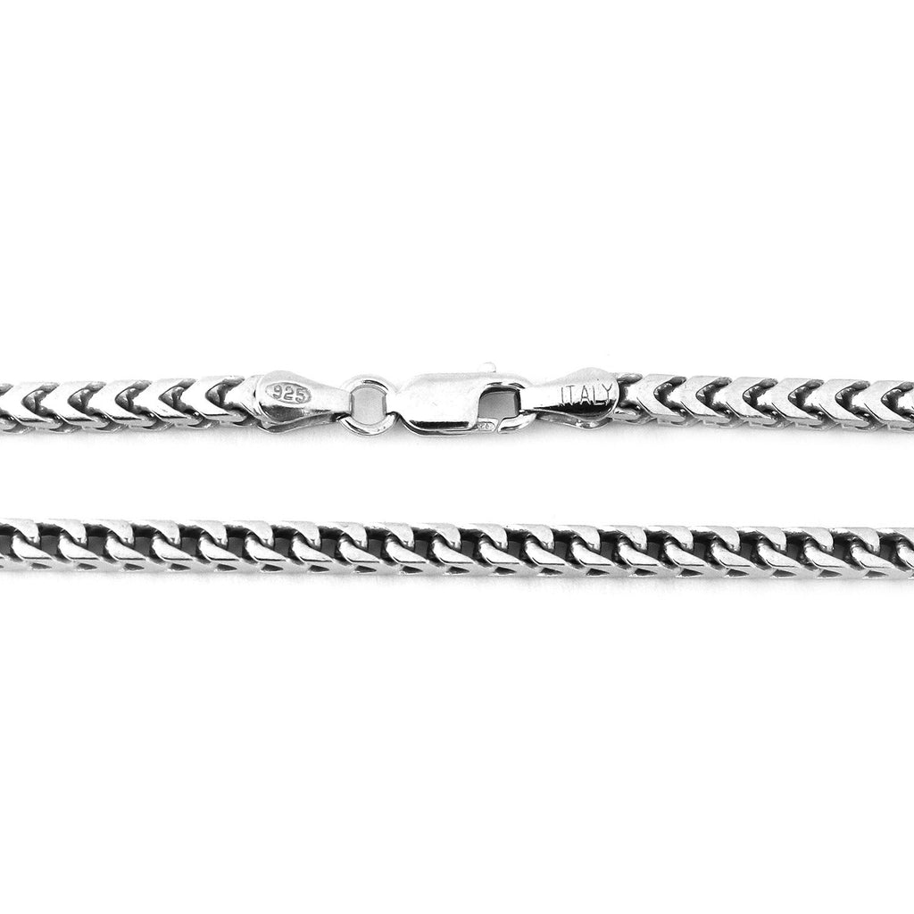 Men's Solid Sterling Silver Rhodium Plated 4mm Comfort Franco Chain Necklace, 24""