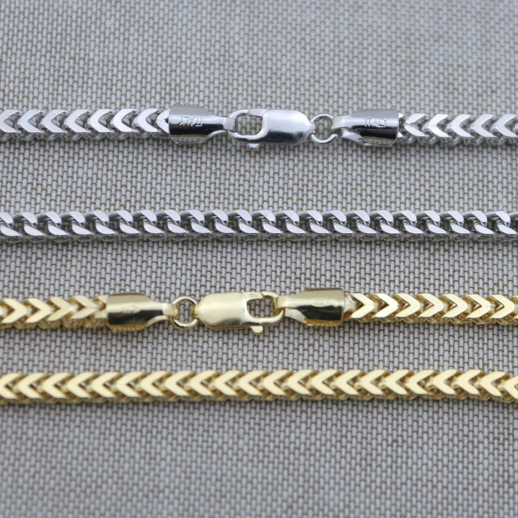 f610d3847e651 Men's Solid 925 Sterling Silver Rhodium Plated 4mm Franco Chain - 26 ...