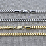 Men's Solid 925 Sterling Silver Rhodium Plated 4mm Franco Chain - 26""