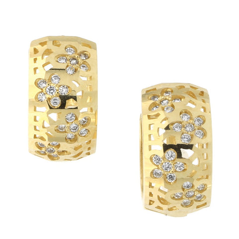 14k Yellow Gold Cubic Zirconia Flower Huggie Hoop Earrings