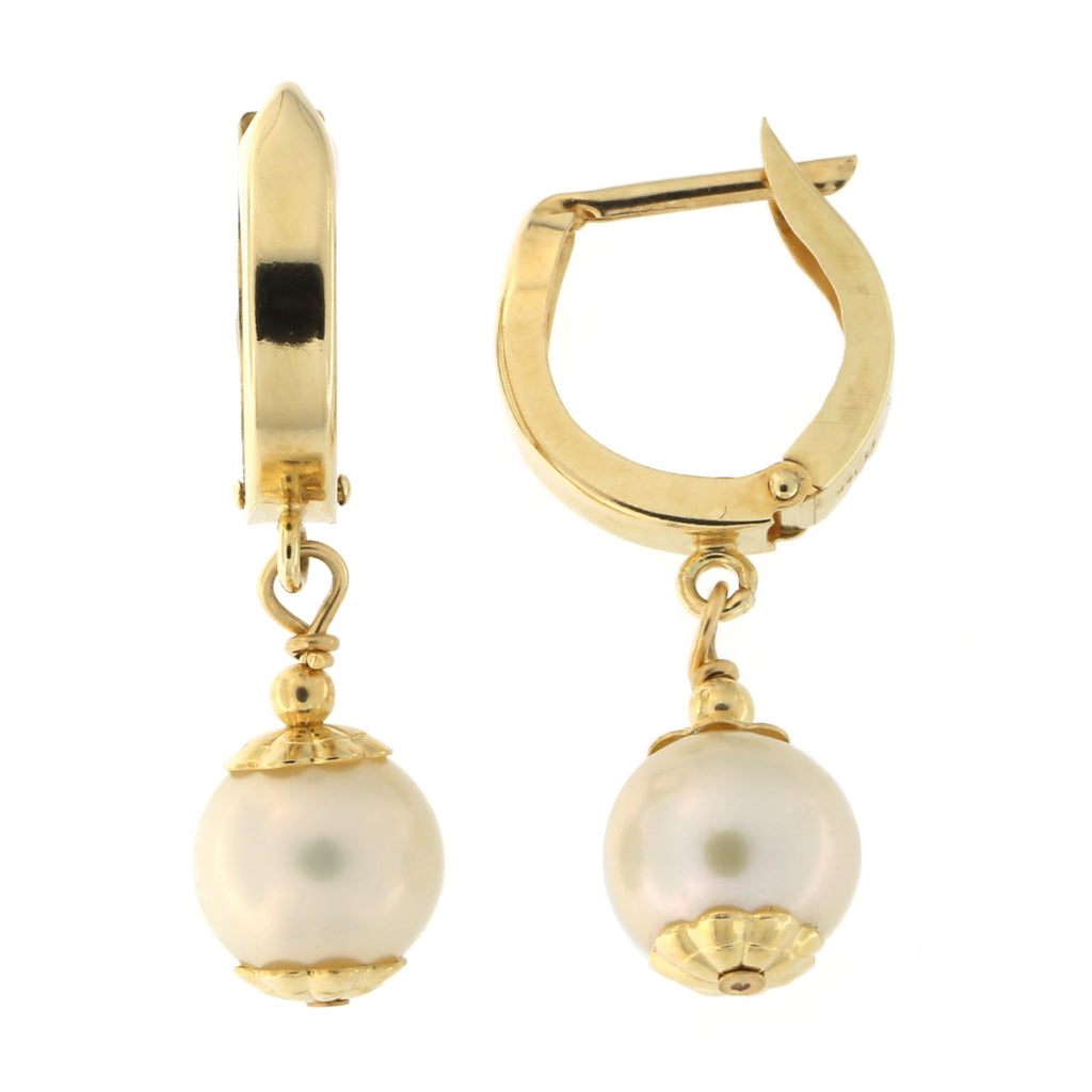 14k Yellow Gold 7mm Freshwater Cultured Pearl Huggie Dangle Earrings