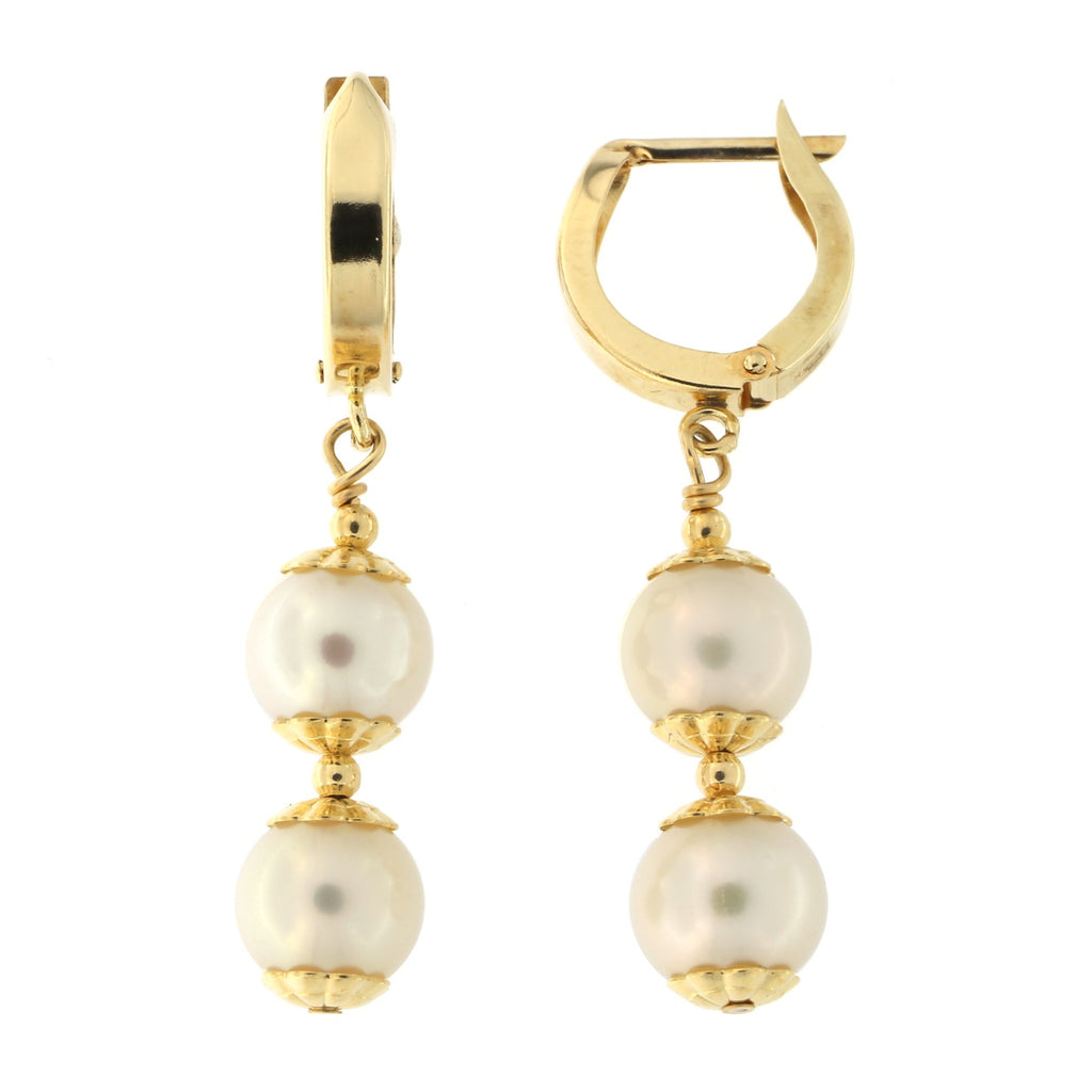 14k Yellow Gold Double Freshwater Cultured Pearl Huggie Dangle Earrings