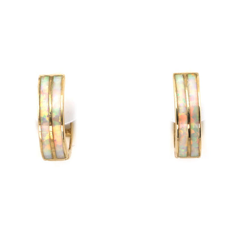 14k Yellow Gold Double Row White Fire Simulated Opal Inlay Huggie Earrings